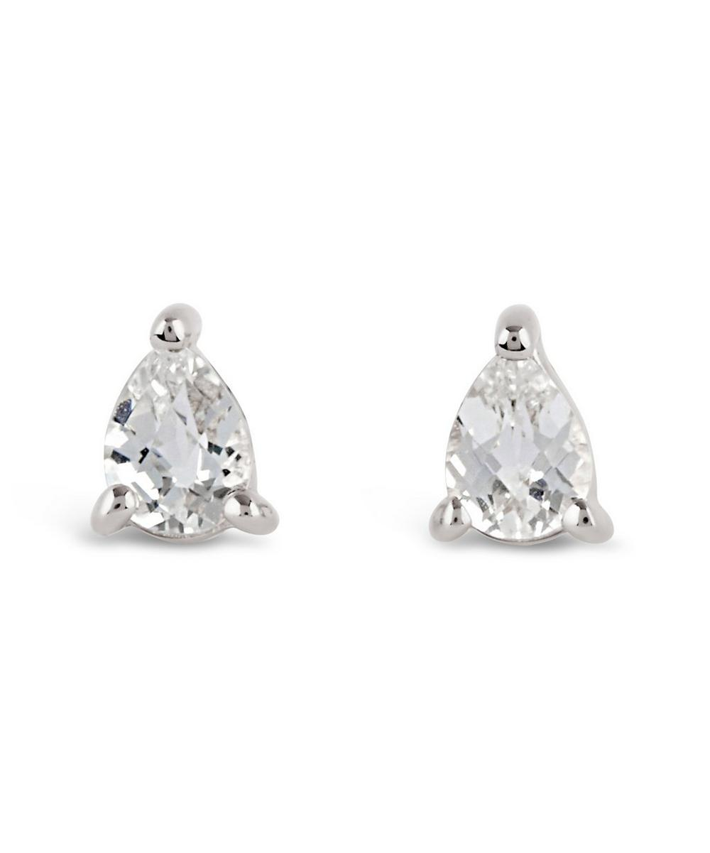 Silver Gem Drops White Topaz Pear Stud Earrings
