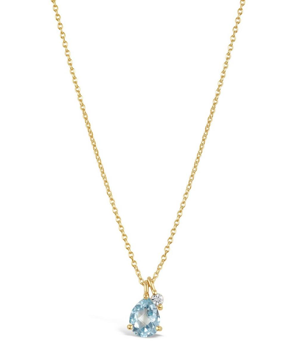 Gold-Plated Gem Drops Sky Blue Topaz Pendant Necklace