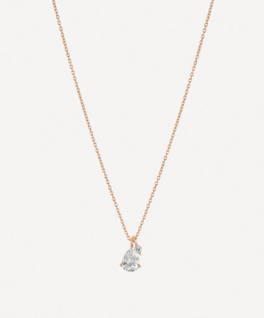 Rose Gold-Plated Gem Drops White Topaz Pendant Necklace