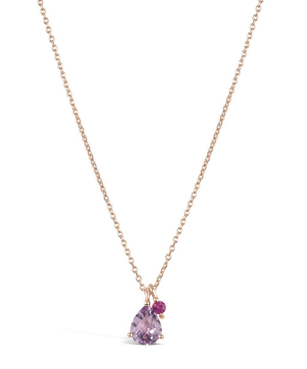 Rose Gold Gem Drops Rose de France Pendant Necklace