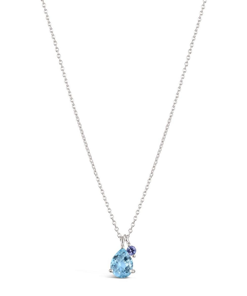 Silver Gem Drops Sky Blue Topaz Pendant Necklace