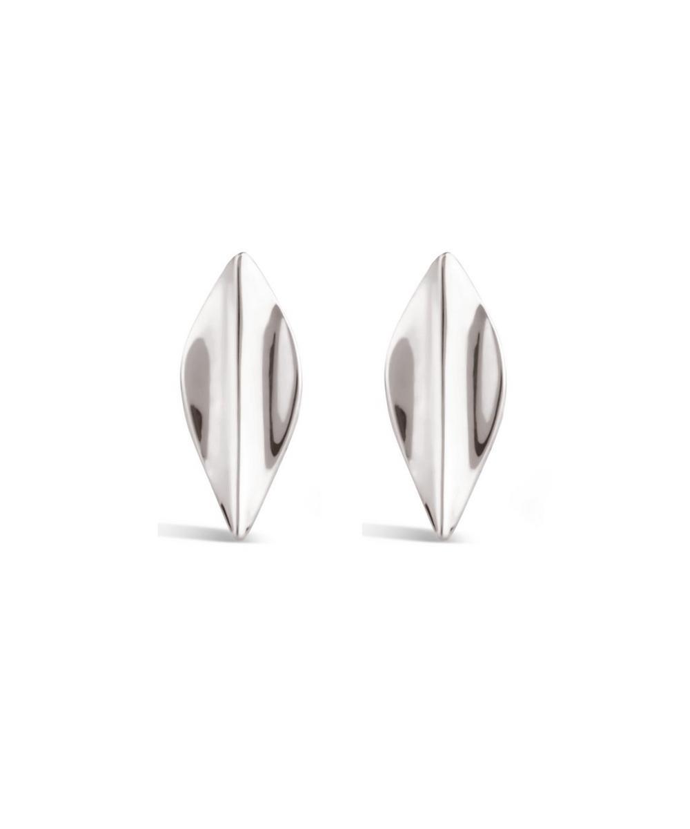 Silver Lotus Petal Stud Earrings
