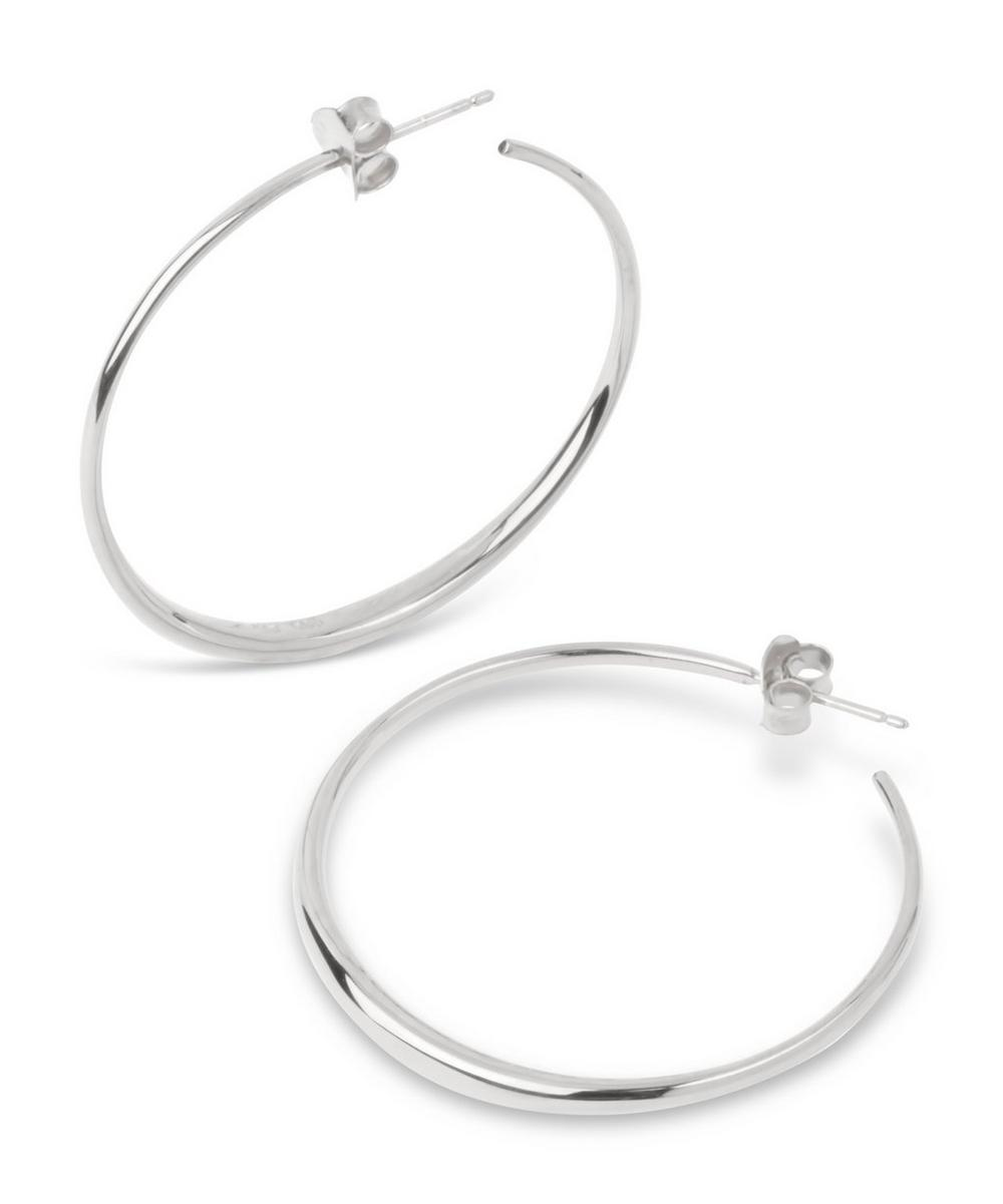 Silver Signature Medium Tapering Hoop Earrings