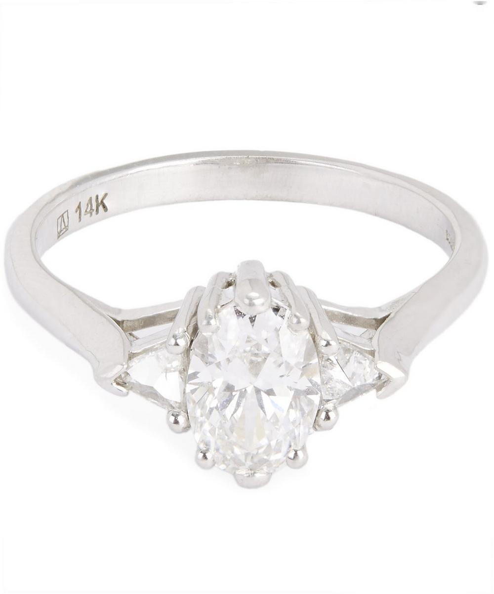 White Gold Oval White Diamond Three Stone Ring