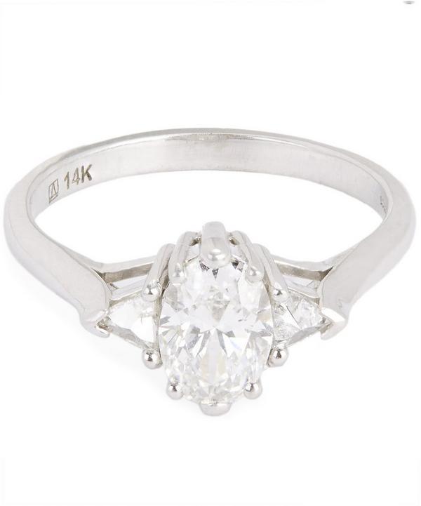White Gold Oval White Diamond Three Stone Ring