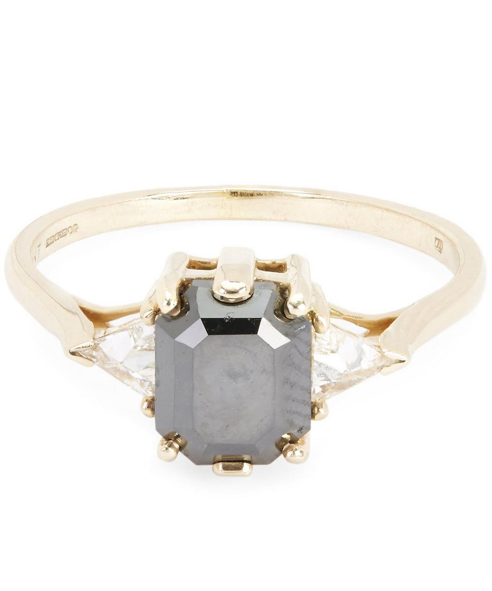Gold Bea Black Diamond Three Stone Ring