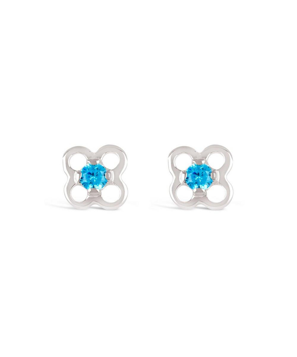 Silver Talitha Shimmer Swiss Blue CZ Stud Earrings