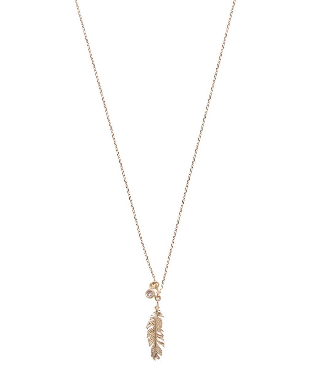 Gold Plume and Champagne Diamond Necklace