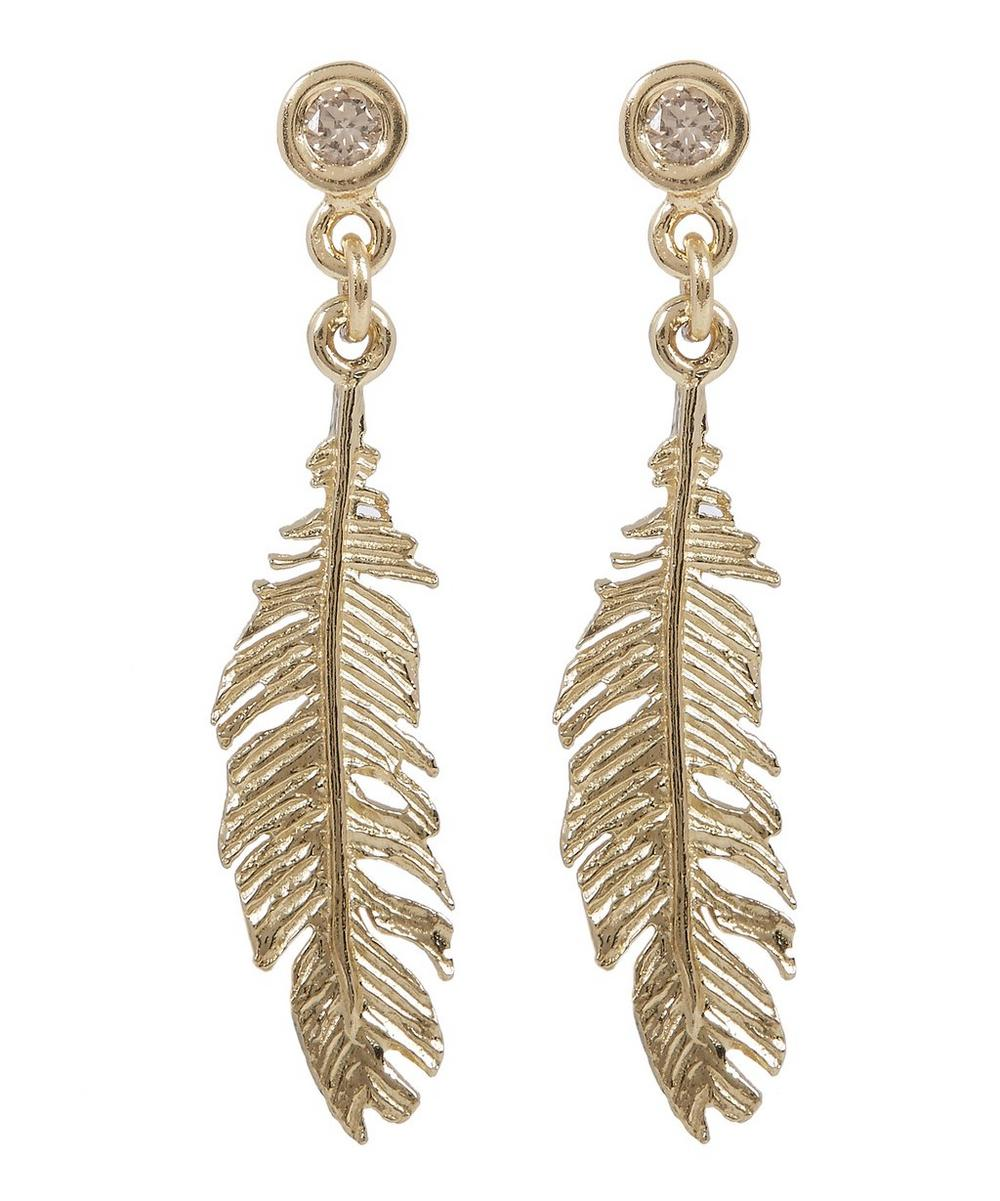 Gold Plume and Champagne Diamond Drop Earrings