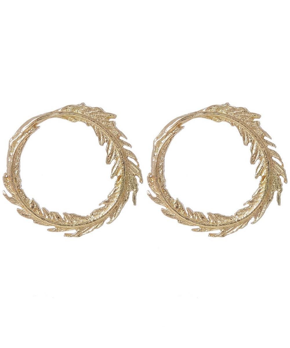 Gold Plume Loop Stud Earrings