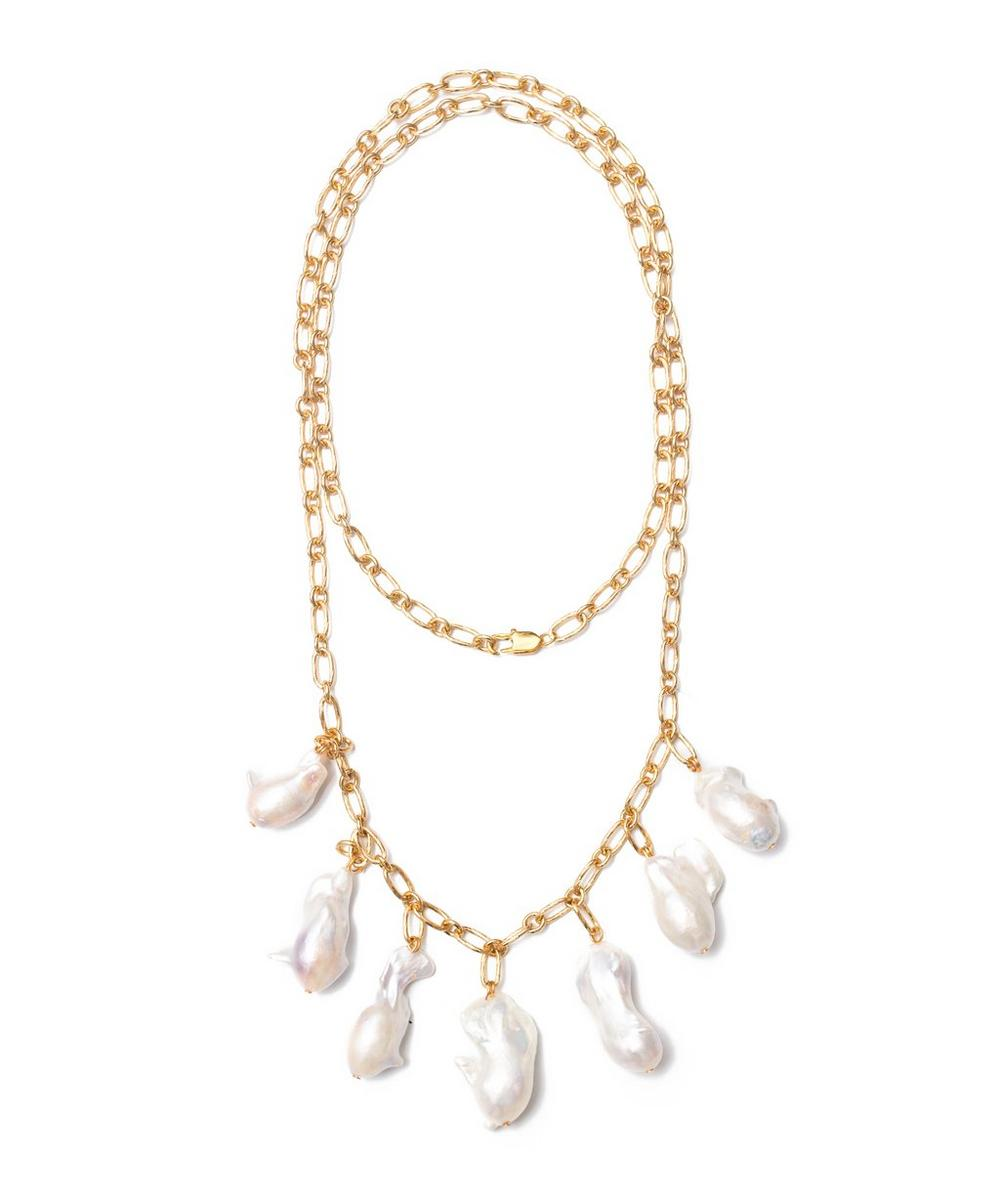 Gold-Plated Pagoda Fruit Baroque Pearl Necklace