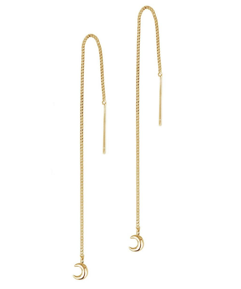 Gold-Plated Bijou Moon Chain Drop Earrings