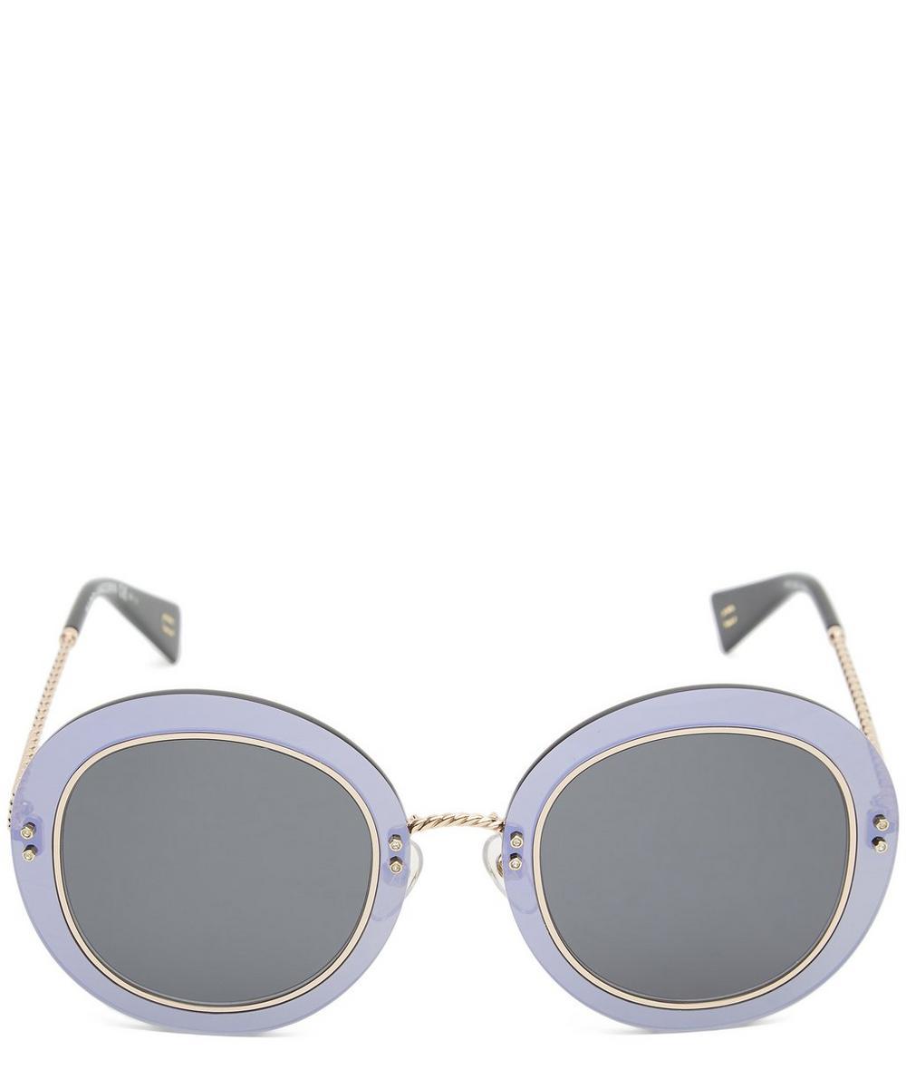Circular Copper-Tone Metal Twist Sunglasses