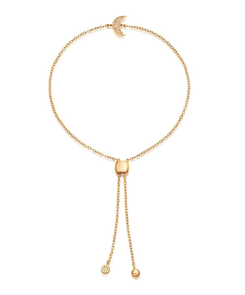 Gold-Plated Mini Sapphire Moon Kula Bracelet
