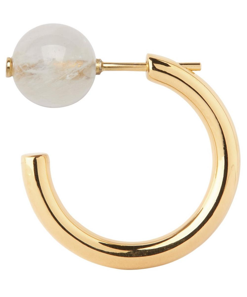 Gold-Plated Elly Rainbow Moonstone Earring