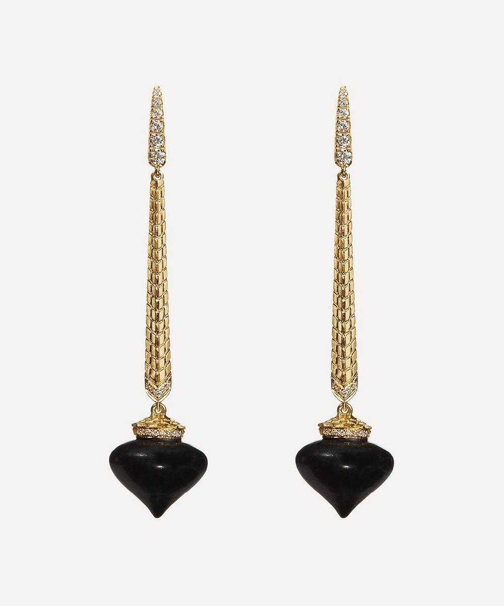 Touch Wood Gold Ebony Drop Earrings