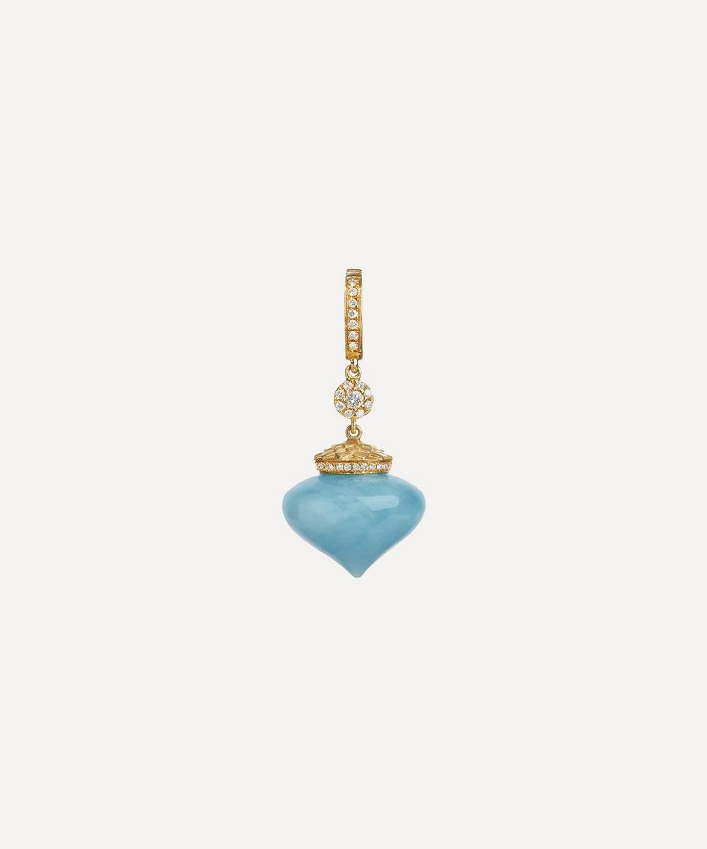 Touch Wood Gold Aquamarine Charm