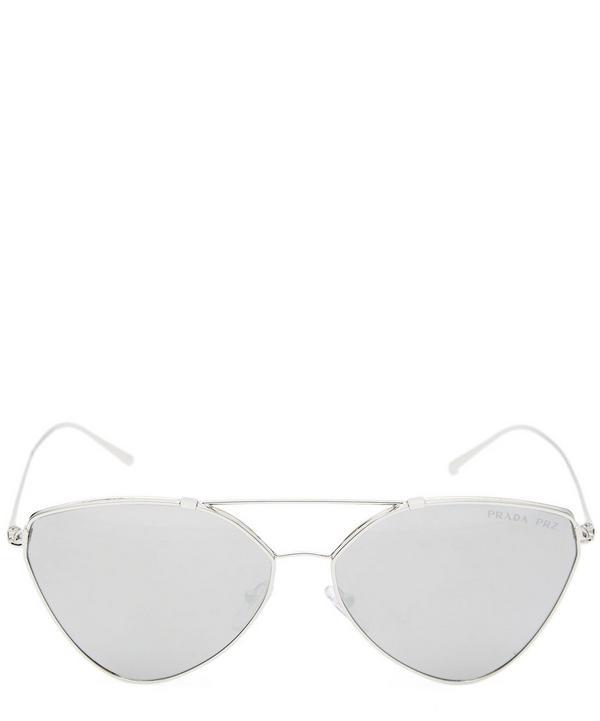 Eyewear Collection Cat-Eye Aviator Mirrored Lens Sunglasses