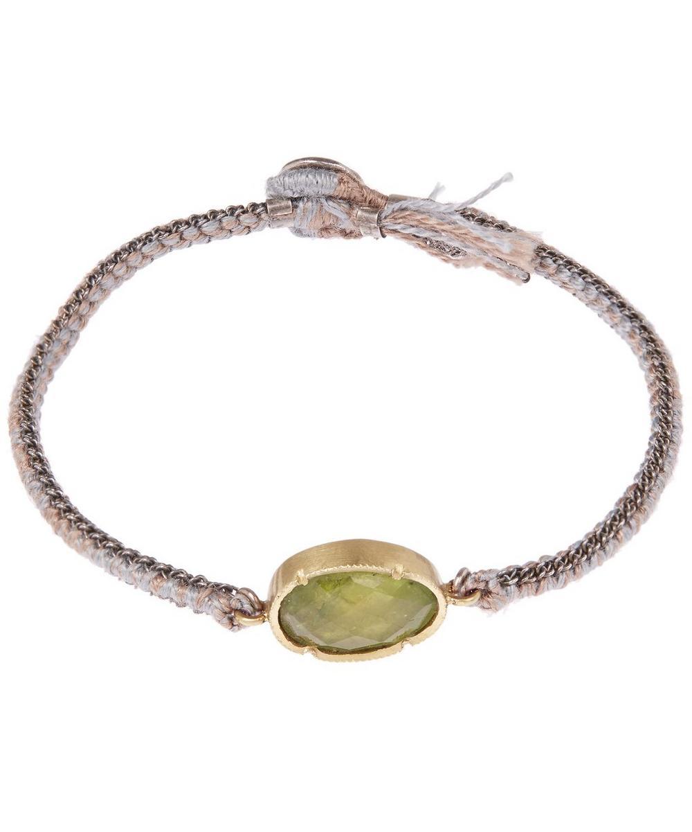 Silver Orbit Tsavorite Silk Woven Bracelet