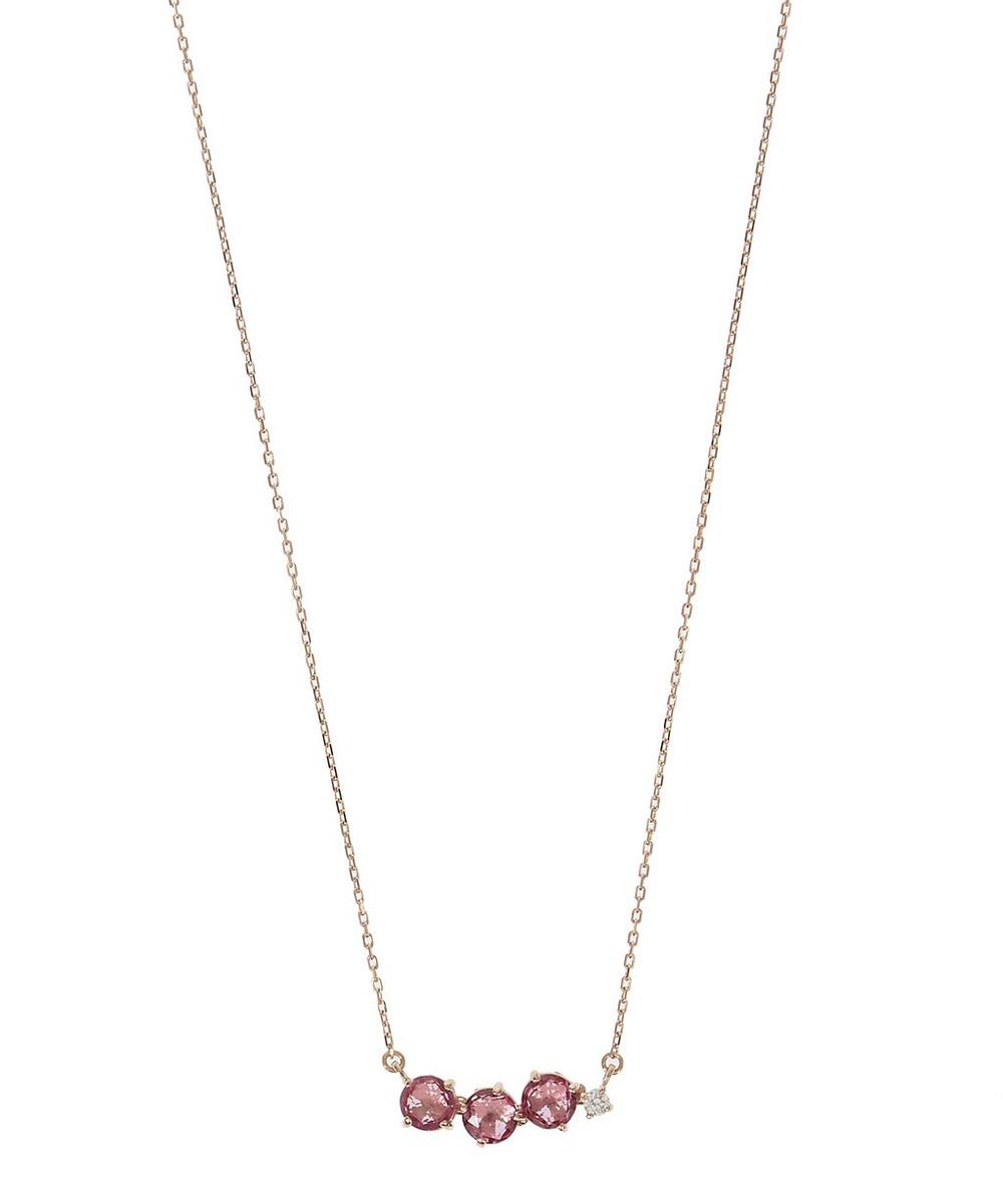 Rose Gold and Pink Topaz Circles Necklace