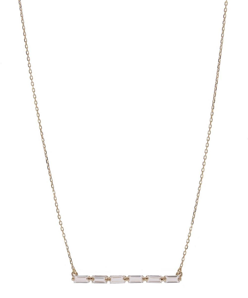 Gold and White Baguette Topaz Bar Necklace