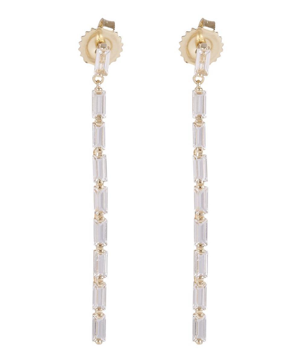 Gold Baguette White Topaz Drop Earrings