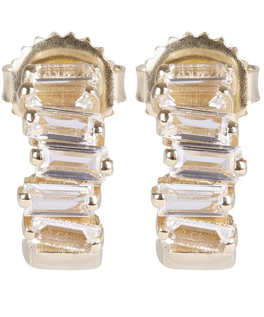 Gold Baguette White Topaz Hoop Earrings