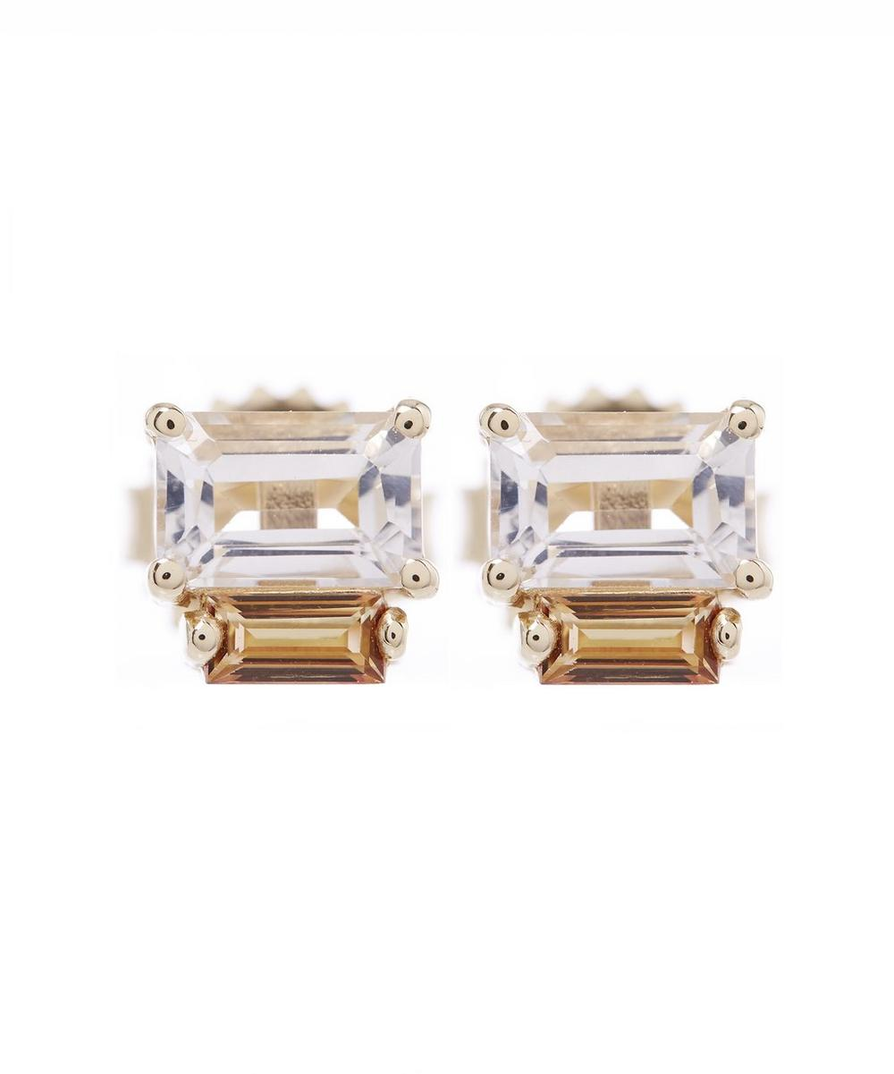 Gold Amalfi Baguette Topaz Stud Earrings