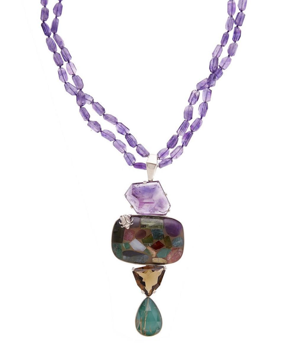 Silver Amethyst Multi-Stone Beetle Pendant Necklace