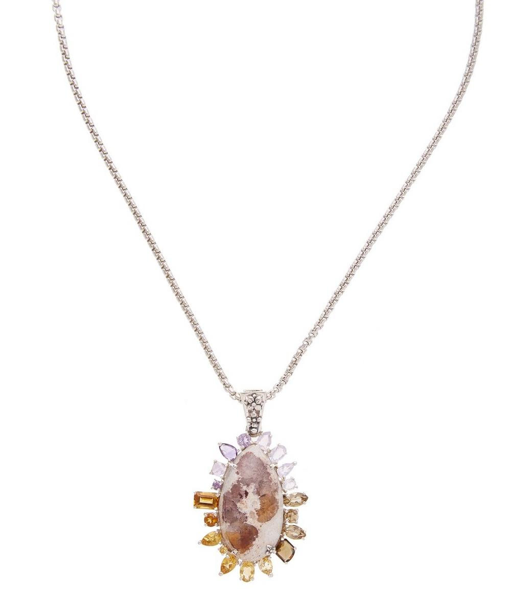 Silver Mexican Fire Opal and Multi-Stone Pendant Necklace