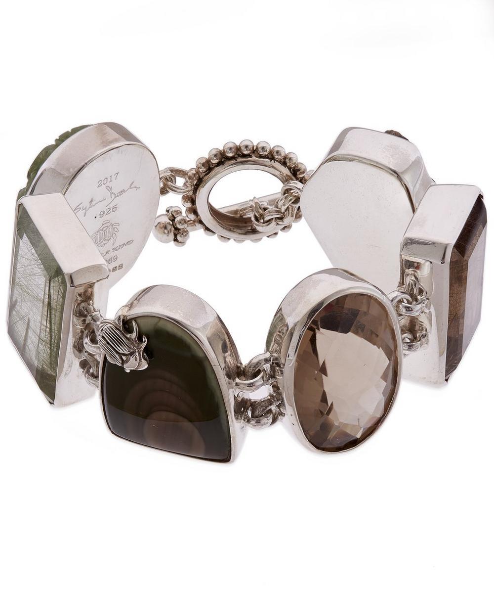 Sterling Silver Carved Prehnite Multi-Stone Bracelet