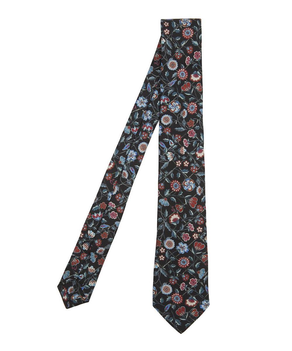 Botanical Print Silk Tie