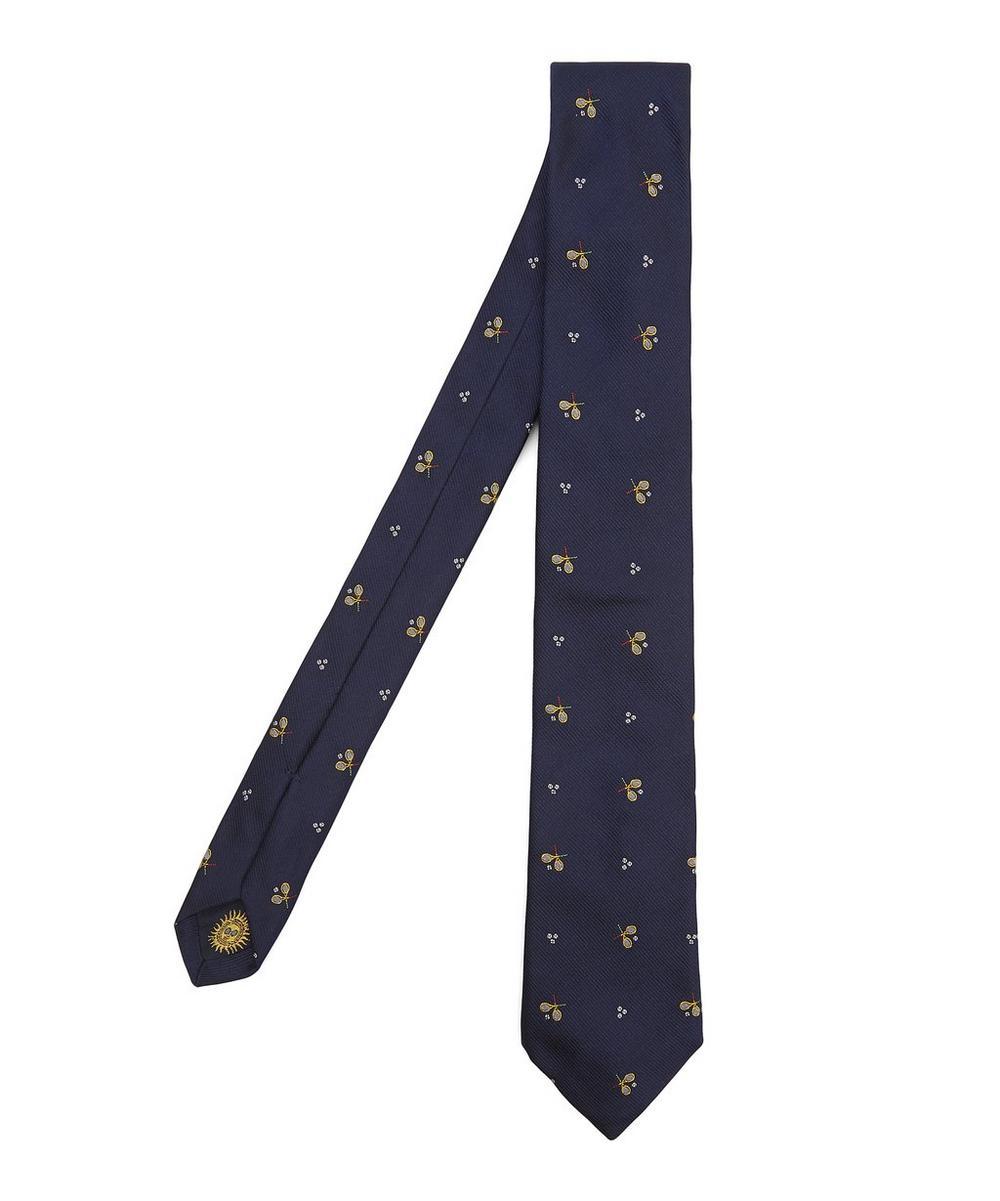Racket Print Silk Tie
