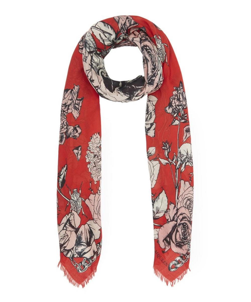 Crawling Roses Square Silk Scarf