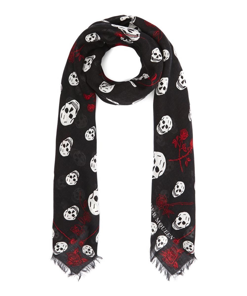 Skull and Roses Print Pashmina
