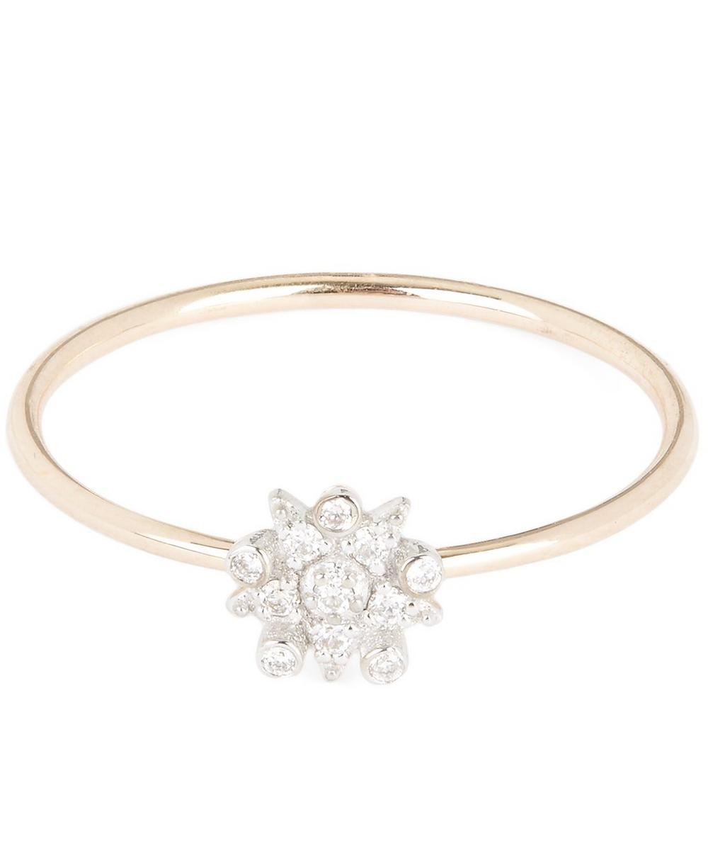 Rose Gold Single Eclectic Star Small White Diamond Ring
