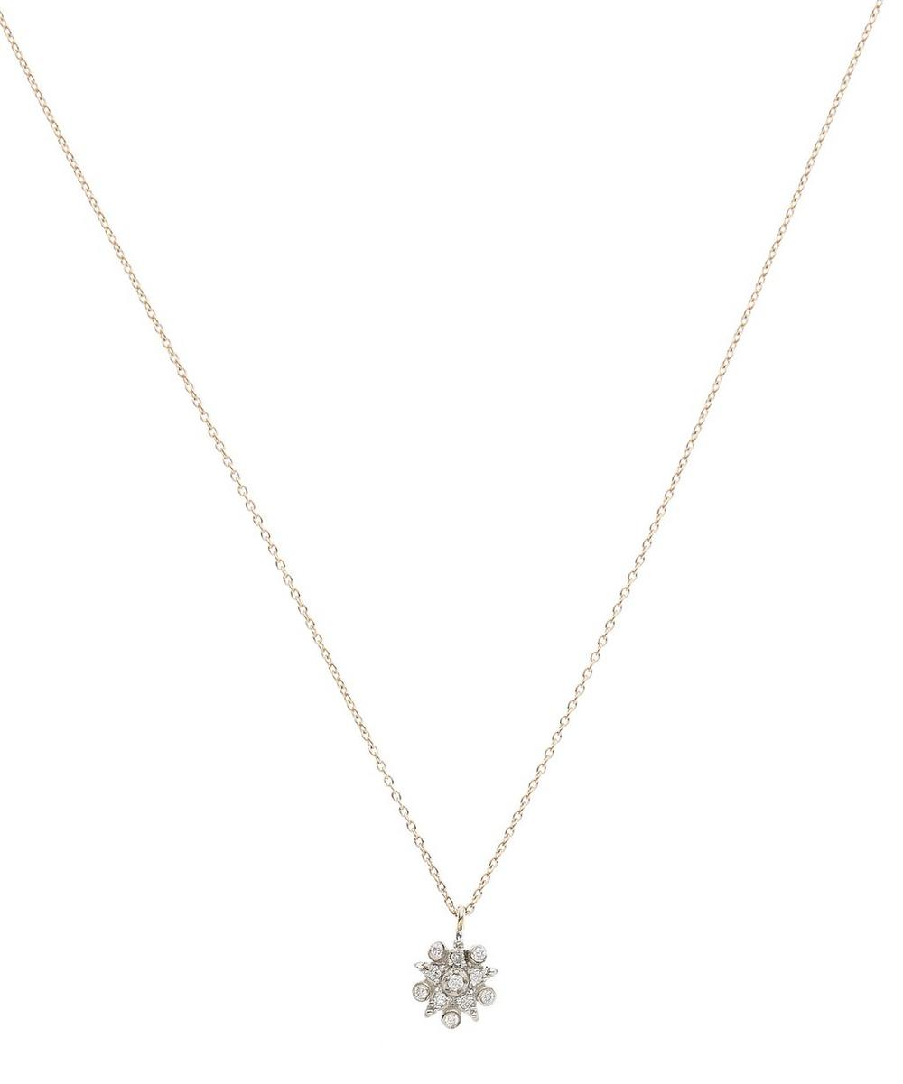 Rose Gold Eclectic Star Small White Diamond Pendant Necklace