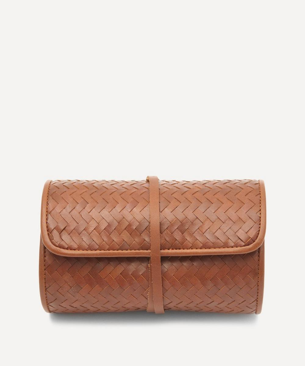 Woven Leather Herringbone Tech Roll