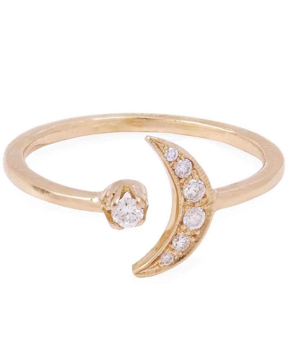 Gold White Diamond Moon Ring