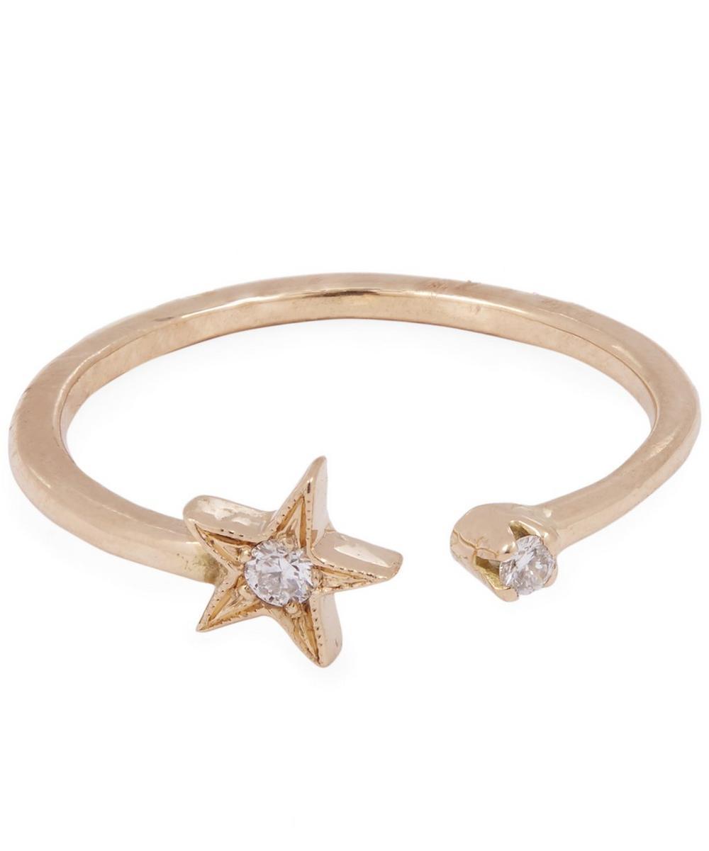 ANDREA FOHRMAN GOLD WHITE DIAMOND STAR RING