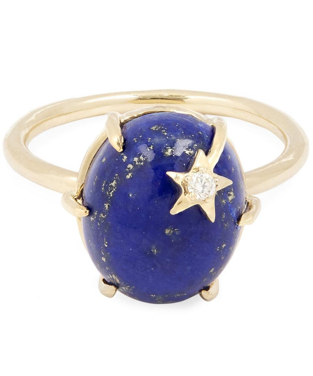 Gold Mini Star Lapis Ring