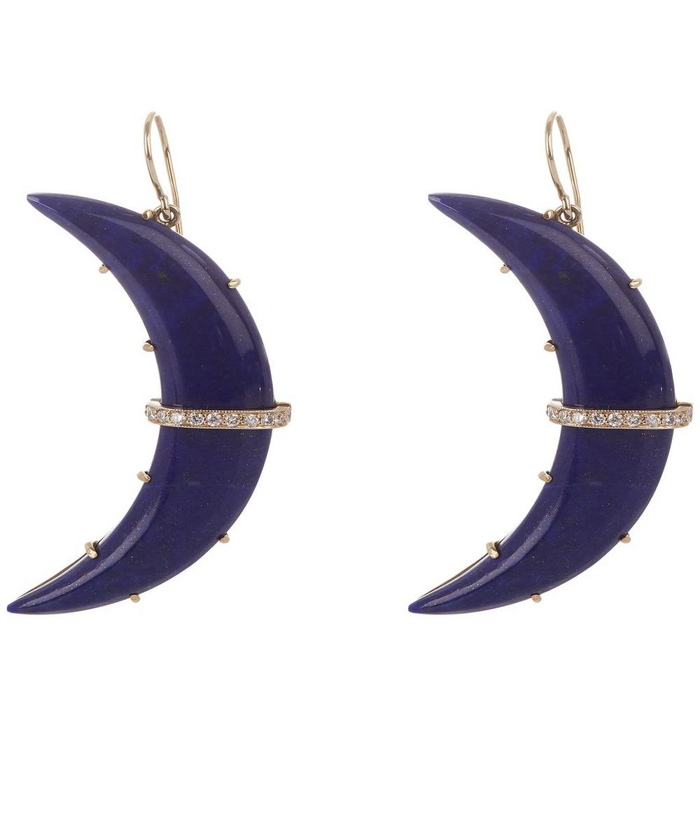 Gold Crescent Moon Lapis Lazuli and Diamond Large Drop Earrings