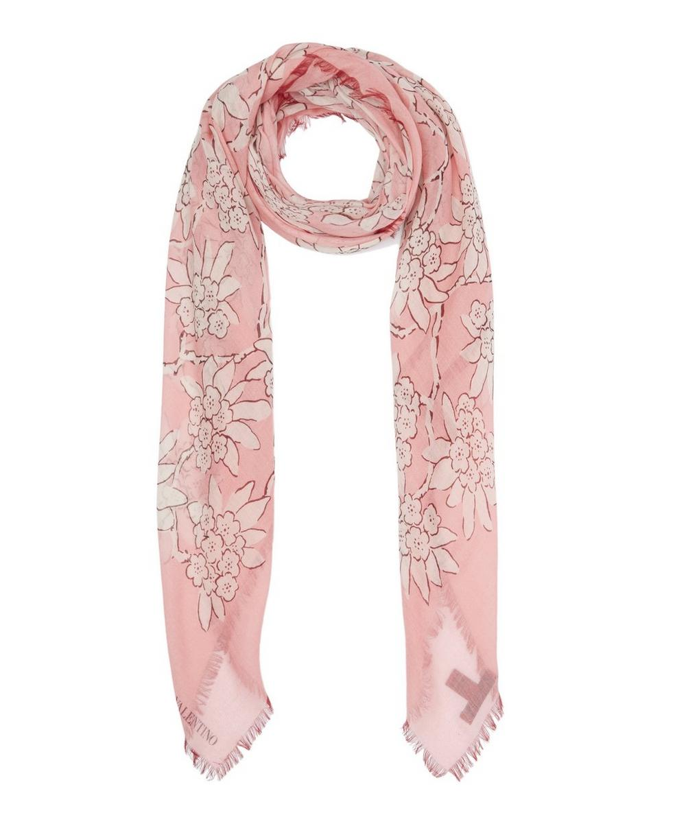 Rhododendron Square Silk Cashmere Scarf