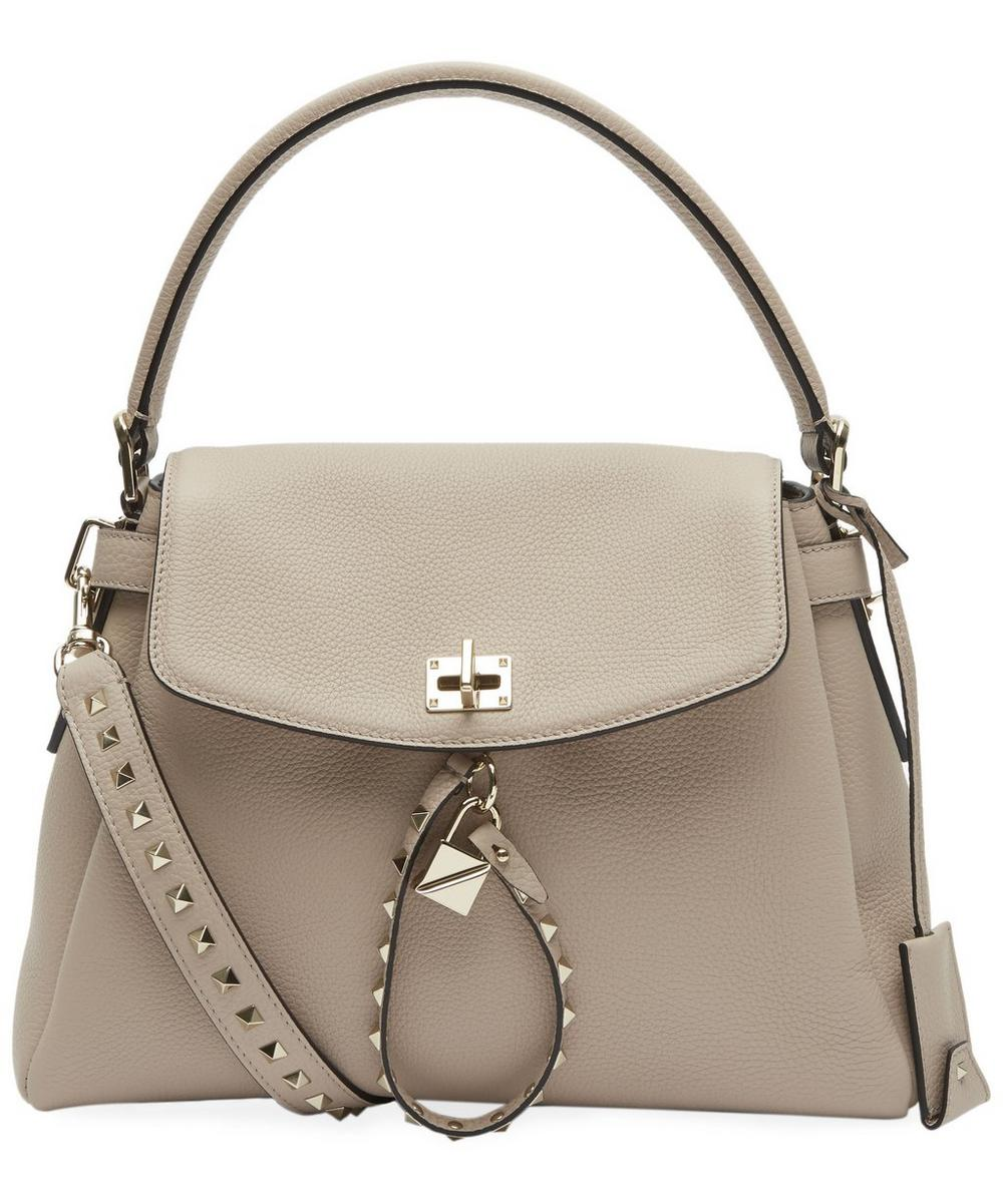 Leather Rockstud Single Handle Bag