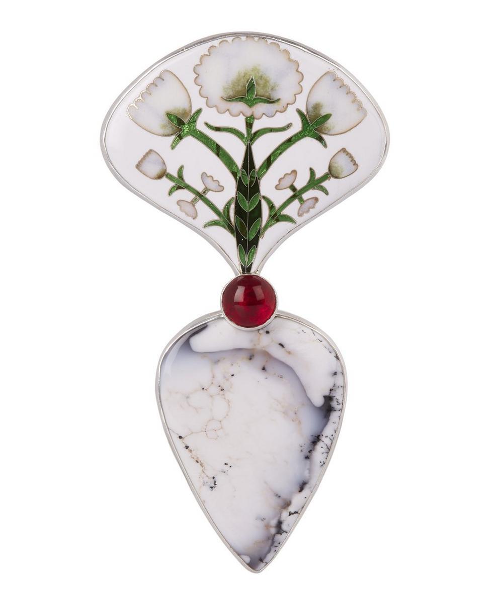 Silver Heart Stone Enamel Ring