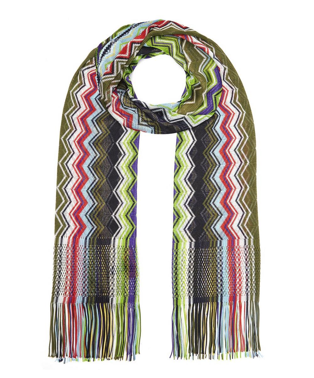 Stretch Zig Zag Stripe Fringed Scarf