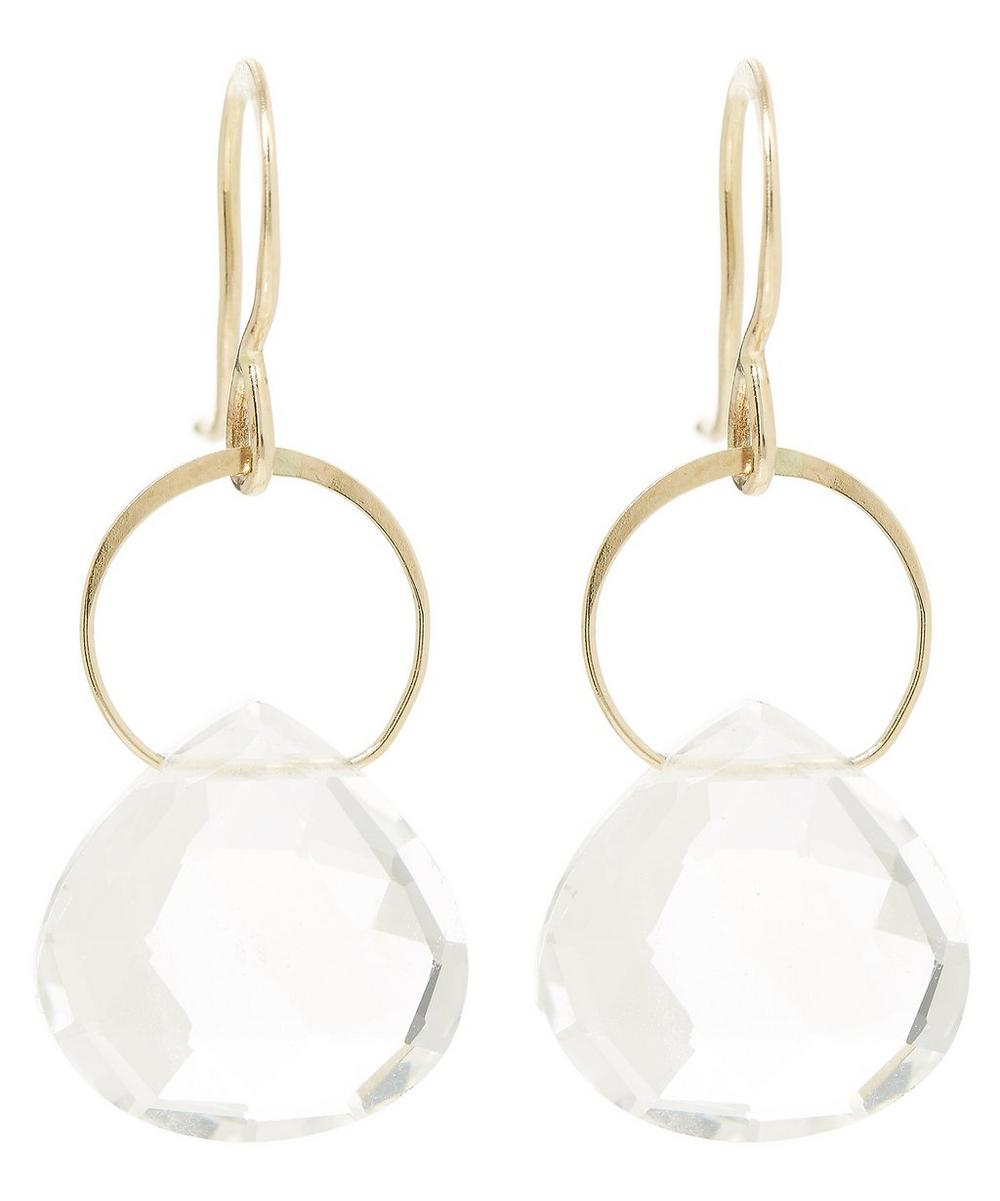 Gold Single Drop White Topaz Earrings