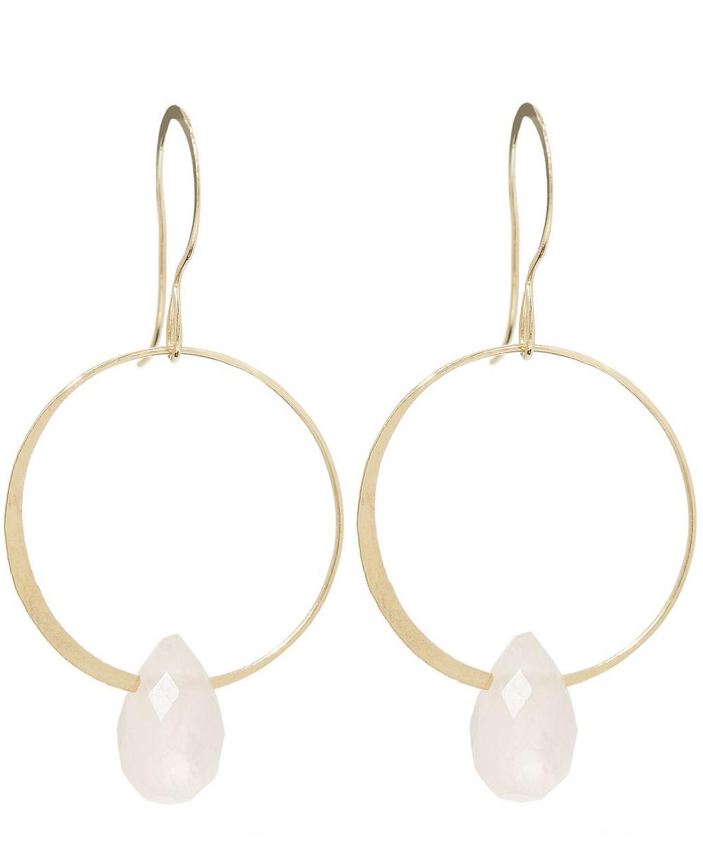 Gold Large Single Drop Rose Quartz Earrings