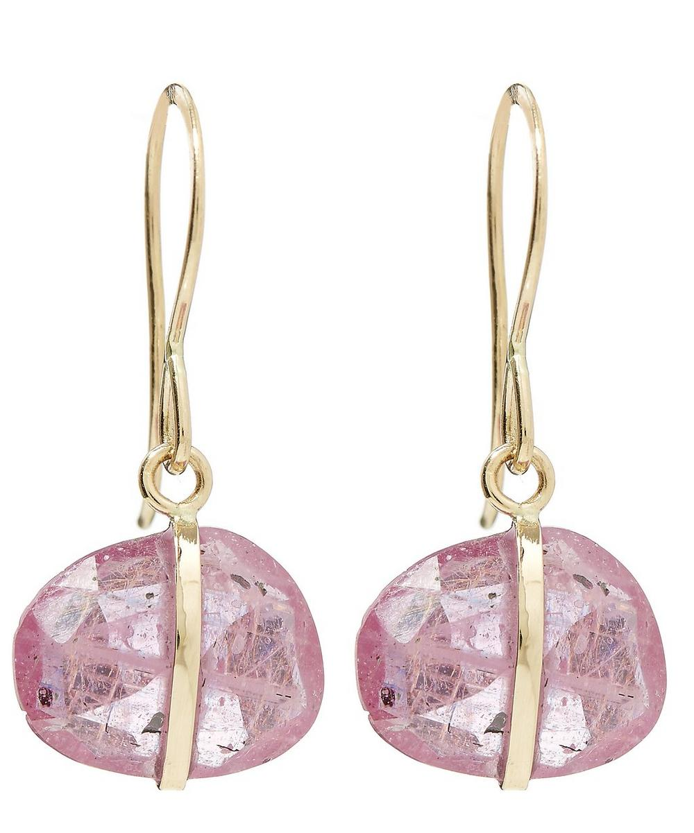 Gold Single Gemstone Drop Pink Sapphire Earrings