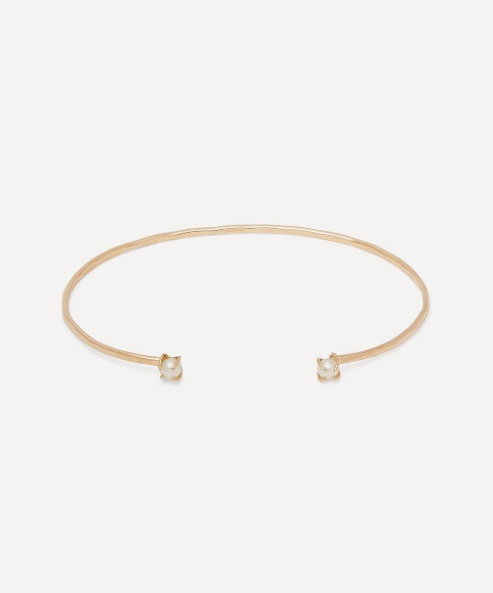 Gold Freshwater Pearl Open Face Cuff Bracelet